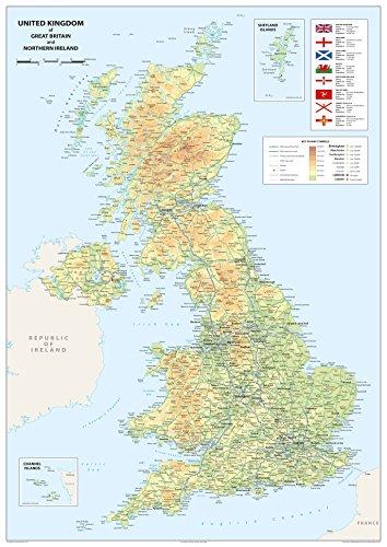 Mapa del Reino Unido de Gran Bretaña e Irlanda del Norte, tamaño A1 de 59,4x 84,1cm