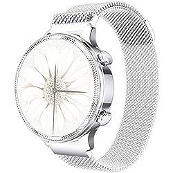Phipuds Smartwatch Damen, elegant und hochwertig, Edelstahl, IP67, wasserdicht, Smartwatch, Fitness-Tracker mit Herzfrequenz, Schlafüberwachung, Kalorien, Schrittzähler, Aktivitäts-Tracker