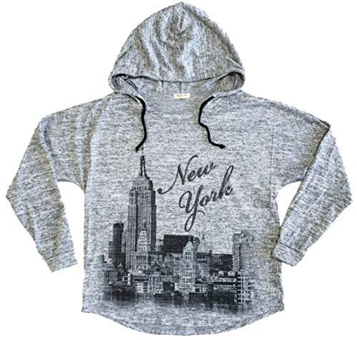 Sweet Gisele New York NYC Brush Hoodie | Grey, Pink | Womens Sweatshirt w/Bling (Small, Grey)