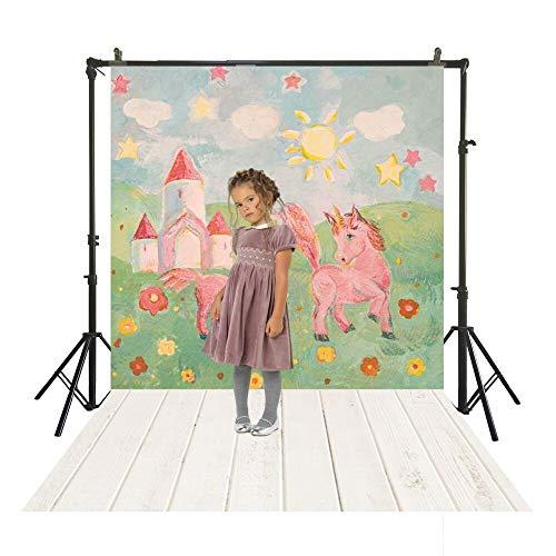 SM-1078 Studio Achtergrond Kinderen Fotografie Polyester Doek Houten Vloer Schilderij Eenhoorn Pony Behang Portret Photocall Achtergrond 150x220cm