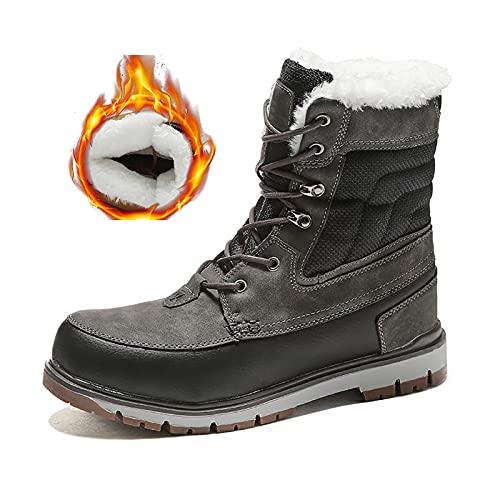 RHJK Suela Impermeable para Hombre Totalmente Femenino Faux Ferloy Forrado de Invierno Botas de Nieve Durables Moda Zapatos Casuales Herramientas Zapatos Antideslizantes Gray thickened-39 EU