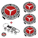 Lan Yu 4PCS 75mm Car Wheel Center Hub Caps for Mercedes Benz, 4PCS Car Tire Valve Air Caps and 1PC Key Chain Fit for Mercedes-Benz Vehicle (Red)