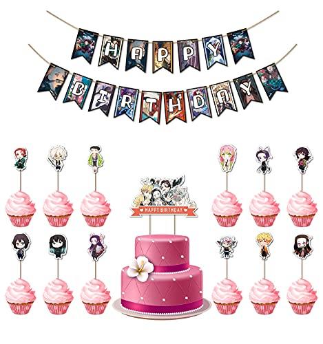 Decoraciones De Cumpleaños LLMZ Suministros de Fiesta de Demonio para Fiesta Cumpleaños Letra Banner Cake Toppers Accessori di Decoraciones (26pcs)