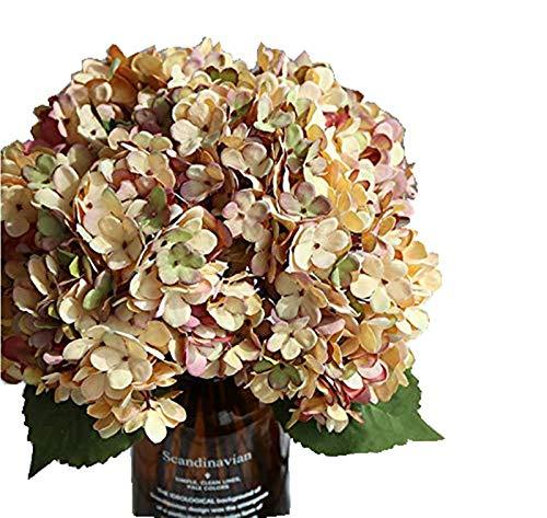 La Mode - Flores artificiales de seda para hortensias de oficina, hogar, banquete, fotografía, decoración, arreglos lavables, 2 piezas amarillo