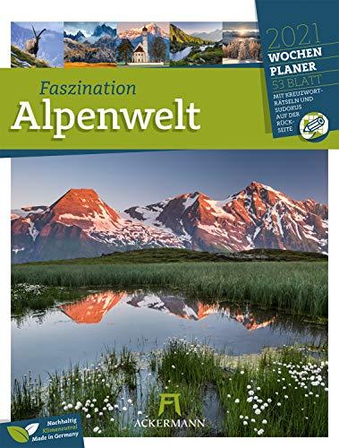 Faszination Alpenwelt - Wochenplaner Kalender 2021, Wandkalender im Hochformat (25x33 cm) - Wochenkalender mit Rätseln und Sudokus auf der Rückseite