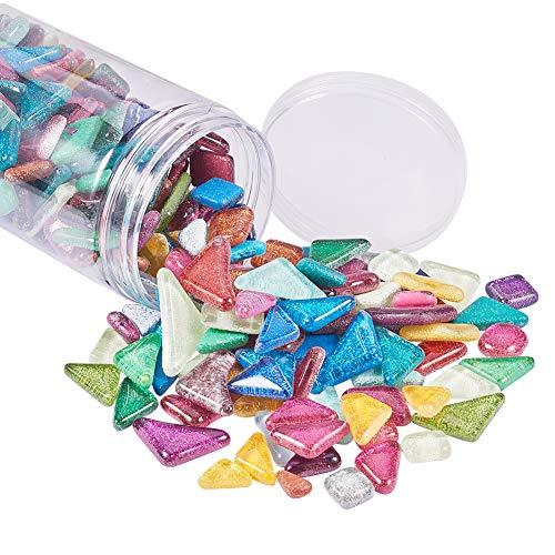 PandaHall 500g Mosaik Fliesen Glitter Kristall Mosaik Cabochons Großes Stück für Heimtextilien Handwerk Liefern DIY Handgemachtes Projekt Dreieck, Rohmbus