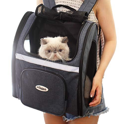 petique The Backpacker [ 猫 犬 キャリー リュック / 米ブランド / メッシュ窓3つ / ペット用底敷きマット付き / 小型犬 中型犬 対応 / ペットキャリー ] 旅行 お出掛け 犬用 猫用 キャリー 飛び出し防止付き 両開き