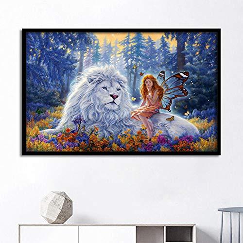 Cuento de hadas Bosques León blanco Elfos Pintura decorativa en lienzo Habitación de los niños Arte de la pared Cuadros de la pared para la sala de estar 60x80cm Sin marco