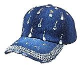 Urbanice - Gorra béisbol Tejana algodón Brillantes Hip Hop Mujer Sombrero Cola de Caballo Chica (Oscura)