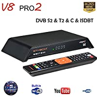 GT MEDIA V8 PRO2 Decodificador TDT Terrestre Receptor TV Satelite Digital DVB-S2/T2/Cable/ISDBT, 1080P Full HD H.265 HEVC AVS+ WiFi, Compatible con PowerVu, Youtube, Cccam, PVR