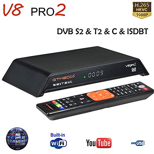 GT Media V8 PRO2 satellietontvanger DVB S2/T2/kabel/ISDBT digitale satelliet-ontvanger kabel terrestre receiver voor satelliet, 1080P Full HD H.265 HEVC AVS+ WLAN, compatibel PowerVu, YouTube, Cccam