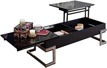 Wood Lift Top Coffee Table with Hidden Storage Compartment, Side Drawer and Metal Frame, Lift Tabletop Dining Table for Ho...