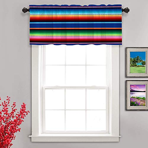 Shrahala Ethnic Mexican Colorful Kitchen Valances Half Window Curtain, Stripes Pattern Party Decor Ethnic Mexican Fabric Kitchen Valance for Window Ink Printing Valance for Decor 52x18 inch