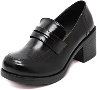 ACE SHOCK Oxford Shoes for Women Retro Vintage, Japanese School Uniform Dress Shoe Work Cosplay Use 2 Colors Size 5-8.5