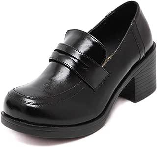 ACE SHOCK Oxford Shoes for Women Retro Vintage, Japanese School Uniform Dress Shoe Work Cosplay Use 2 Colors Size 5-8.5