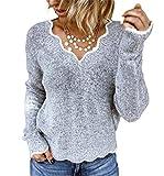 SMTM Damen Langarmshirt Casual V-Ausschnitt Sweatshirt Stricken Niedliche Pullover Frauen Plus Größe Bluse Top Oberteile (M, grau)