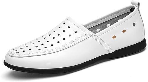 SRY-chaussures Mocassins Confortables en Cuir Cuir véritable pour Hommes, avec Mocassins à Semelle intérieure en Daim (Couleur   blanc Breathable Style, Taille   41 EU)  en stock