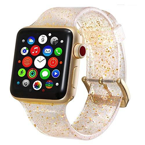 FYWWJ Correa de silicona para Apple Watch Band 44MM 40MM IWatch Band 38MM 42MM Transparente Pulsera Apple Watch 3 4 5 6 SE-Gold,42MM-44MM