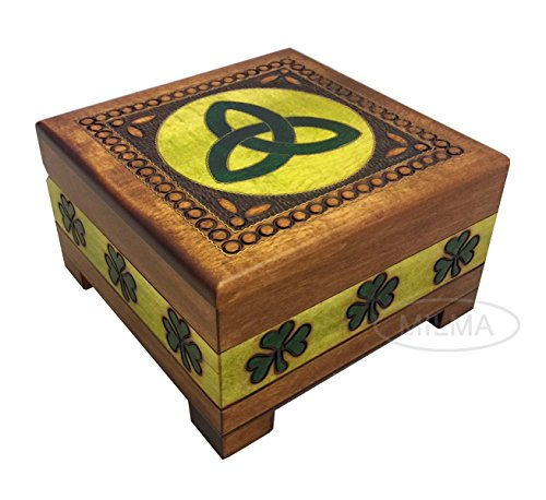 Polish Handmade Linden Wood Celtic Shamrock Box Celtic Trinity Knot Keepsake Jewelry Box