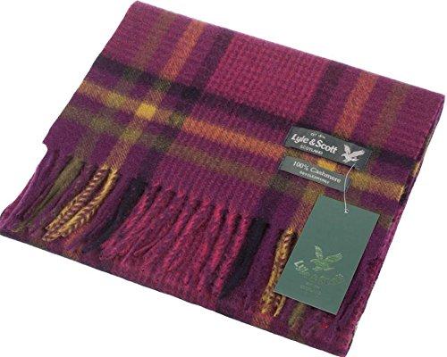 Lyle & Scott Unisex Cashmere Scarf In Houndstooth Radicchio Tartan Design 25.5 cm Wide