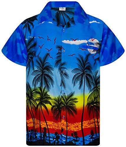 Funky Camicie Hawaiana Bambini Ragazzi Kids, Manica Corta, Print Beach, Blu, 12