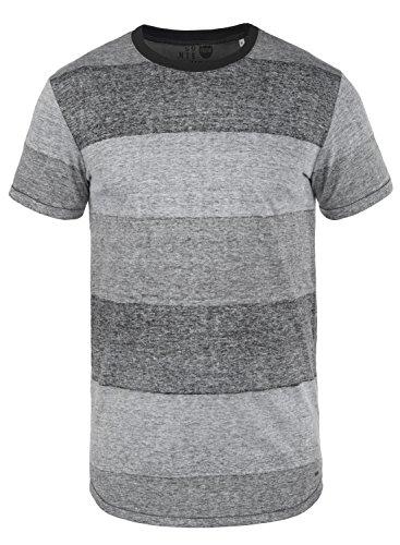 !Solid Teine Herren T-Shirt Kurzarm Shirt Mit Streifen Und Rundhalsausschnitt, Größe:L, Farbe:Black (9000)