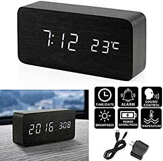 Oct17 Wooden Digital Alarm Clock, Wood Fashion Multi-function LED Alarm Clock with USB