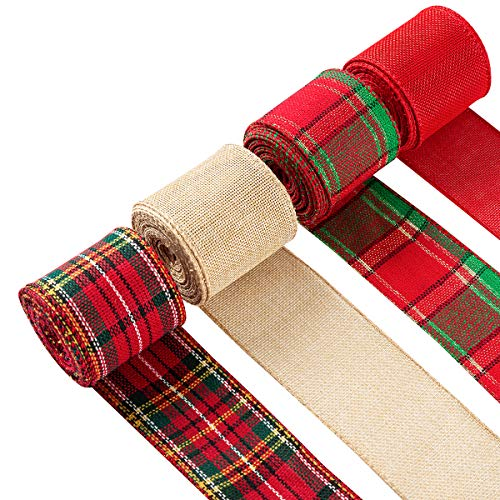 """4 Rolls Christmas Ribbon Wired Edge Plaid Burlap Ribbons for Wrapping Gifts Home Christmas Tree Decor Floral Bows Craft Wreath and DIY(Red, Green, Linen, 2.5"""", 26yd)"""