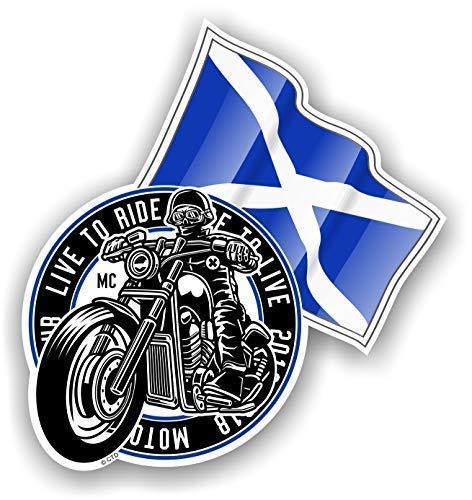 Rétro Club Moto Cafe Racer Motard Design avec Sautoir Écossais Écosse Drapeau Motif Sticker Autocollant Vinyle Voiture 100x106mm
