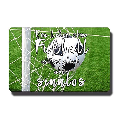 Koelkastmagneet leven zonder voetbal met voetballer spreuk grappig deco magneet spreuken cadeau sterk voor koelkast magneetbord voetbalfans