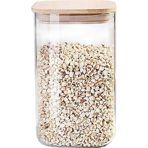 Set barattoli cucina Set vasetti di stoccaggio di vetro, barattoli di stoccaggio Piccolo contenitore in vetro borosilicato con bambù coperchio e lavagna etichette, for cucine, bagni, decorazione, spez