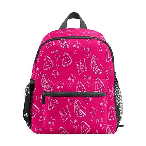Mochila infantil para niños de 1 a 6 años de edad, mochila perfecta para niños y niñas de 1 a 6 años, máscara de corona rosa para baile de graduación