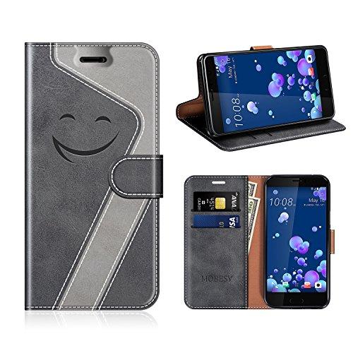 MOBESV Smiley HTC U11 Hülle Leder, HTC U11 Tasche Lederhülle/Wallet Hülle/Ledertasche Handyhülle/Schutzhülle für HTC U11, Schwarz/Grau