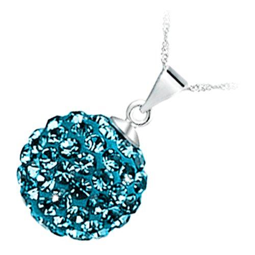 GWG Jewellery Collares Mujer Regalo Collar con Colgante, Chapado en Plata de Ley Bola Embellecida con Cristales Brillantes de Color Aguamarina Azul Marino para Mujeres
