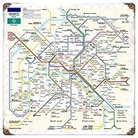なまけ者雑貨屋 Paris Metro ブリキ看板 壁飾り レトロなデザインボード ポストカード サインプレート 【20×20cm】