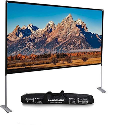 Beamer Leinwand mit Faltbarem Stand, Projektor Leinwand 120 Zoll HD 4K Outdoor Indoor Tragbare Filmleinwand 16: 9 für Heimkino, Camping und Freizeitveranstaltungen.
