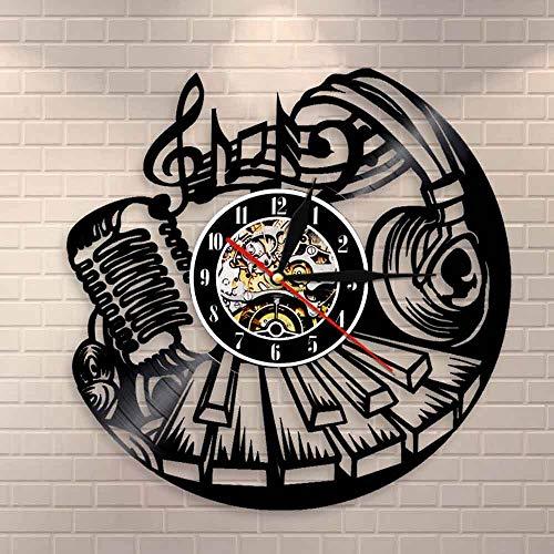 BFMBCHDJ Musikalische Wanduhr Rock'n'Roll Wandkunst Schallplattenuhr Musikinstrument Klavier Wanddekoration Mikrofon Headset Vinyluhr