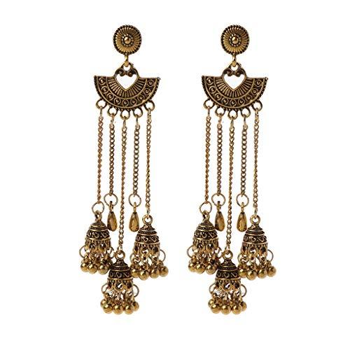 WOWOWO Pendientes de Gota Indios Jhumka Jhumki de Cadena Larga oxidada India para joyería de Mujer