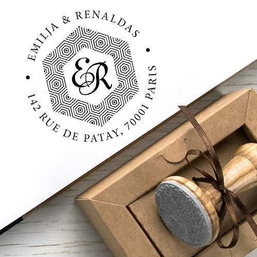 Adressstempel, Familienstempel, Initialen Stempel 2 Buchstaben, Bienenwaben Hexagon Dekorative Bordüre, Original Kraft Papier Geschenkbox