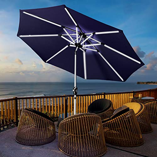 Aok Garden 9' Patio Umbrella, Outdoor Solar LED Table Market Umbrella with Push Button Tilt/Crank 8 Ribs, Navy Blue