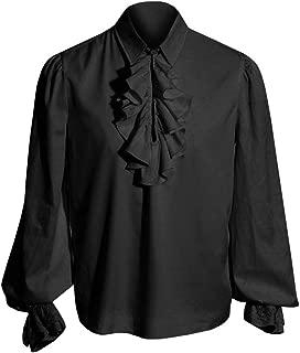 Hestenve Mens Performance Hipster Cosplay Costume Ruffle Prom Dress Shirt Round Collar Victorian