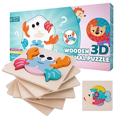 MOIMOINS Puzzles de Madera Educativos Juguetes Bebes Juguete para Niños y Niñas Pequeños Puzzles 6 Piezas Educativos de Animales Montessori para Bebes 2 3 años Regalo Cumpleaños MM-P-06