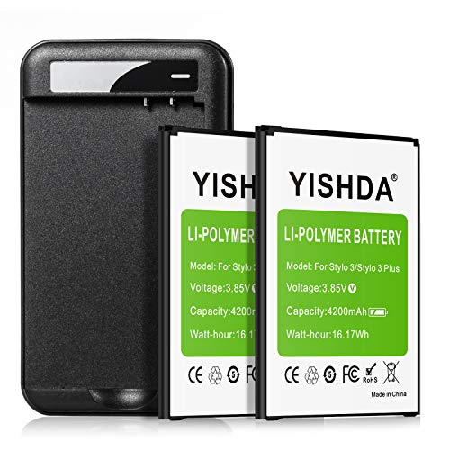 LG Stylo 3 Battery, YISHDA 2x4200mAh Li-Polymer Replacement Battery with Battery Charger for LG Stylo 3, LG Stylo 3 Plus Cell Phone | LG Stylo 3 Spare Batteries Kit [18 Month Warranty]