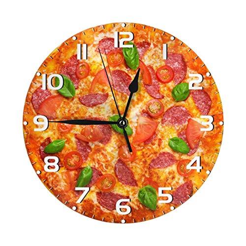 AuHomea Delicious Pizza Italiana Orologio da Parete Rotondo Salame, Silenzioso Orologio Antiticchettio 20,5 cm Arte Casa Decor Batteria per Soggiorno Cucina Camera Da Letto