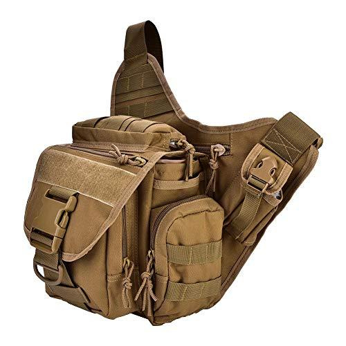 Alomejor 2Colors Durable Men Military Pacchetto a Tracolla Petto per Viaggio Escursionismo Attrezzature per Esterni(Cachi)