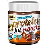 Life Pro Fit Food Protein Cream Kit Crunch – Crema de avellanas alta en proteínas con sabor a chocolate blanco y galletas - Sin azúcares añadidos ni conservantes artificiales - Alta en fibra - 250 gr