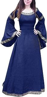 NEWONESUN-Dress Women's Medieval Dress Renaissance Fit Irregular Long Sleeve Cosplay Party Dress
