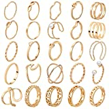 ONESING 25 Pcs Knuckle Rings for Women Stackable Rings Set Girls Bohemian Retro Vintage Joint Finger Gold Silver Rings for Women Men Hollow Carved Flowers Crystal Rings
