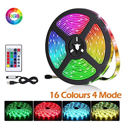 LED TV Hintergrundbeleuchtung, 2M USB LED Fernseher Beleuchtung Strip RGB LED Strip mit 24-Key Fernbedienung für 46-60 Zoll HDTV, TV-Bildschirm und PC-Monitor