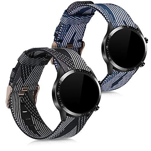 kwmobile Set 2X Pulsera Compatible con Huawei Watch GT2 (46mm) - Brazalete de Nylon Negro/Azul/Blanco sin Fitness Tracker
